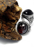 Stainless steel ring classic exquisite animal pattern red black agate ring