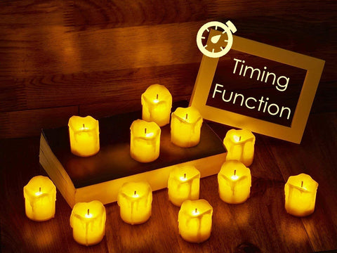 LED Flameless Votive Candles with Timer, 6 Hours on and 18 Hours Off - Battery Operated Candles  (12-Pack)