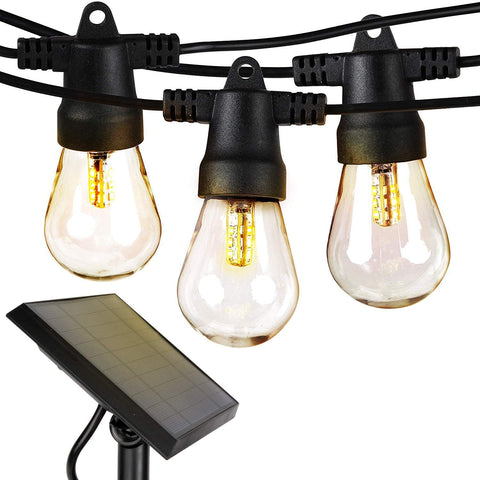 Solar Powered Outdoor String Lights - 48 Ft Vintage Edison Bulbs Create Bistro Ambience On Your Patio