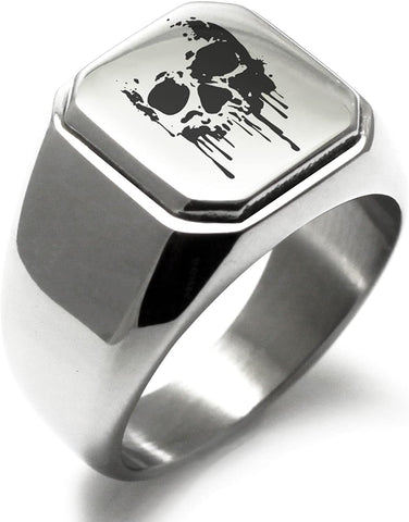 Silver Skull Print Ring Couple Party Birthday Good Luck Ring