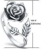 Rose Flower Ring 925 Sterling Silver Adjustable Wrap Open Ring