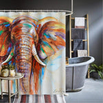 Shower Curtain-Elephant Shower Curtain Watercolor Painting Shower Curtains Animal Art Print Waterproof Shower Curtains