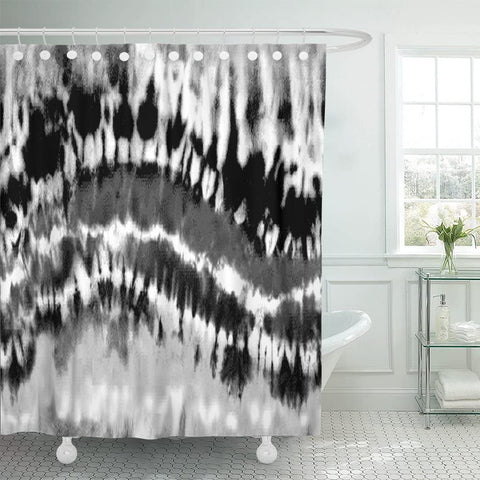 Shower curtain-abstract black and white rainbow tie dye waterproof polyester shower curtain