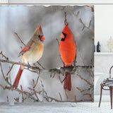 Shower Curtain-Birds stop on the branches to waterproof shower curtain