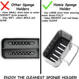Sponge Holder, Sink Caddy with Brushed Stainless Steel Finish and Re-Usable Hook Design for Kitchen, Rust Proof Organizer