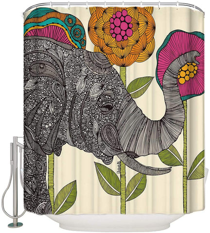 Shower Curtain-Elephant and Flower Waterproof Shower Curtain