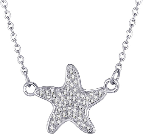 Silver starfish pendant necklace, ladies necklace