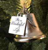 Christmas Angel Bell  It's a Wonderful Life Inspired Christmas Angel Bell Ornament with Stainless Steel Angel Wing Charm
