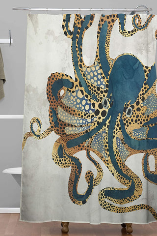 Shower Curtain-crazy Octopus Watercolor Waterproof shower curtain