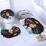 Shower Curtain-African American Girl with Crown Shower Curtain Afro African Girl Queen Princess Bath Curtain with Carpet Toilet Seat Cover Set