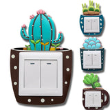 Luminous cactus switch, decorative sticker, creative switch, wall cover, luminous sticker