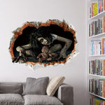 Halloween Haunted House Horror Decoration Female Ghost 3D Wall Sticker Scary Scary