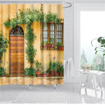 Shower Curtain -  Landscape From Another Door Antique Stone Village Bathroom Waterproof Shower Curtain