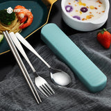 Portable Travel Tableware Set Stainless Steel Dinnerware With Box Kitchen Fork Spoon Dinner Set For Kid School Cutlery