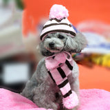 Knitted Dog Hat Scarf Set Soft Leg Warmer Puppy Clothing Winter Warm Dog Clothes For Small Dogs