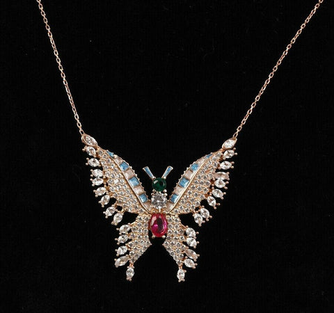 Topaz butterfly pendant necklace, ladies necklace