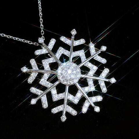 Silver white snowflake pendant necklace, men's and women's necklaces