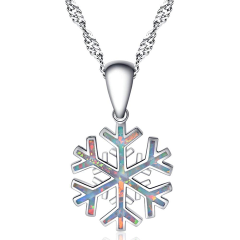 Silver white snowflake pendant necklace, ladies necklace