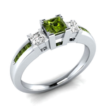 Olive Green Ring 925 Silver Square Women's Ring