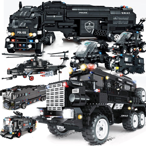 special forces SWAT military vehicle car police Station bus sets building blocks kits helicopters city arms truck arrest Patrol