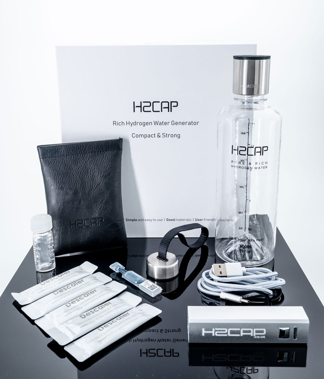 H2cap with accessories and presentation box