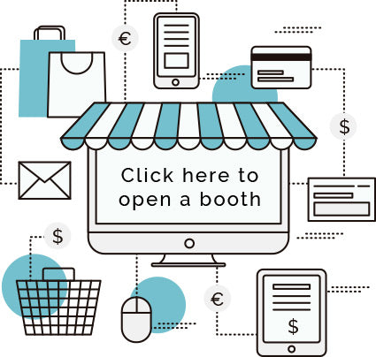 Open a booth vector graphic