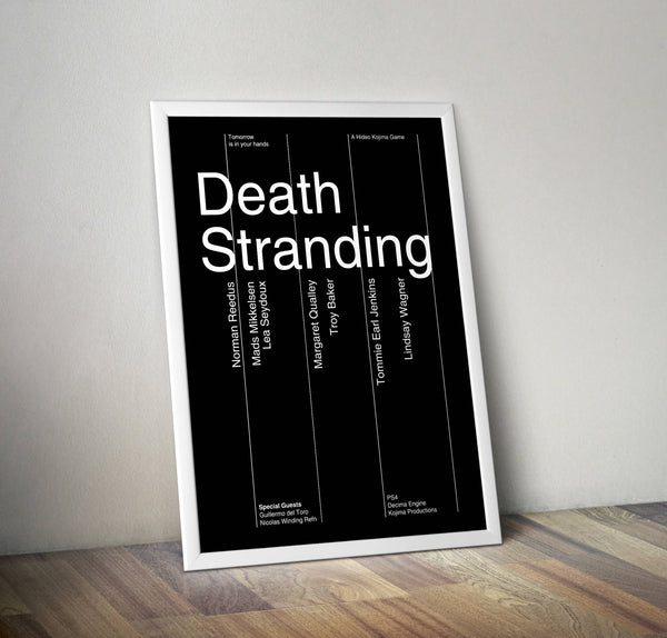 Death Stranding Swiss Style Typographic Poster