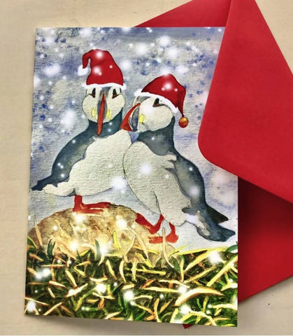 Pack of 6 Puffin Christmas Cards for Bird Lovers in Watercolour.
