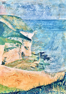 Original Landscape Painting - FLAMBOROUGH HEAD in Mixed Acrylic Techniques on Paper