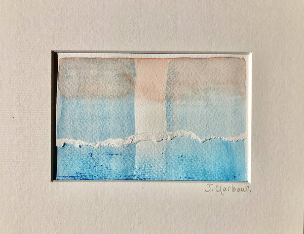 Original Abstract Paintings - TORN . Set of Two Mixed Media Paintings on Paper Featuring Delicately Coloured Flesh Tints