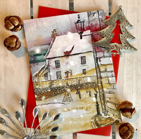 Snowy Day by the Sea pack of 6 Christmas Cards in Watercolour