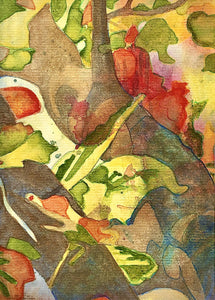 Original Abstract Painting - LIGHT THROUGH THE LEAVES. Watercolour on Paper Featuring AutumnalTones