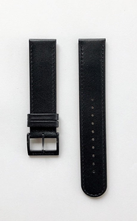 Mondaine strap brack leather 18mm mat