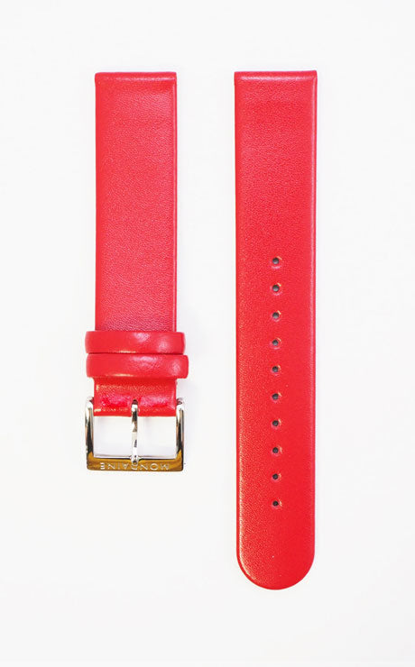 Mondaine strap red leather 18mm polished