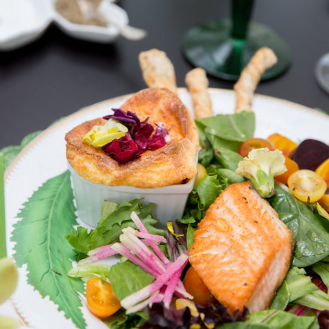 Individual Cheese Soufflé - The Fab Fête - Salmon Salad with Cheese Soufflé