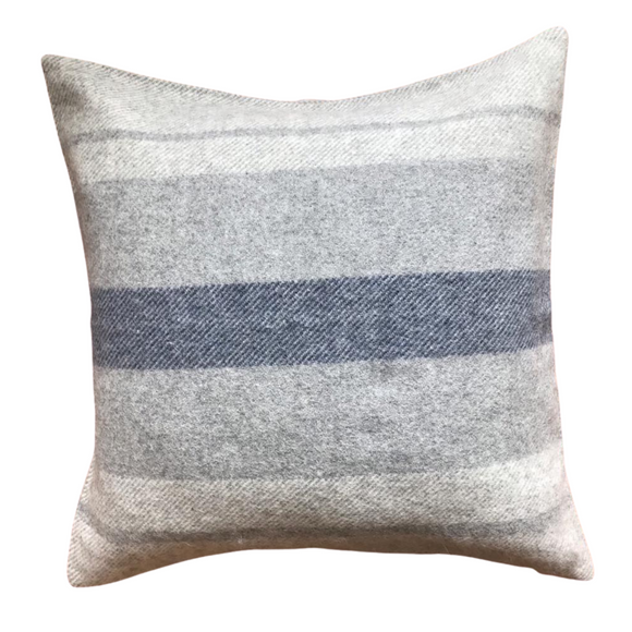 Peruvian Alpaca Wool Hand-finished Pillow White, Silver Gray and Navy Blue