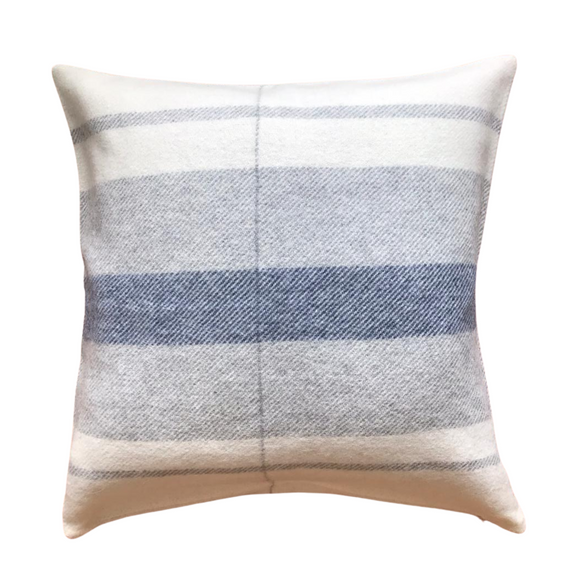 Peruvian Alpaca Wool Pillow White, Silver Gray and Navy Blue w/ Line