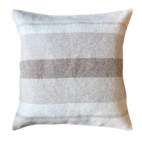Peruvian Alpaca Wool Hand-finished Pillow White, Light Camel and Dark Camel
