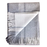 Peruvian Alpaca Wool Hand-finished Throw White, Silver Gray and Navy Blue
