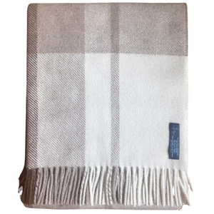 Peruvian Alpaca Wool Hand-finished Throw White, Light Camel and Dark Camel