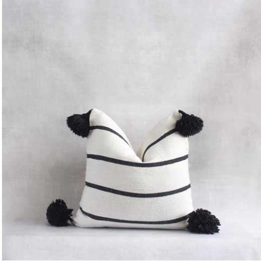 Moroccan Thin Striped Pompom Pillow Covers-Craftology-Handmade Artisan