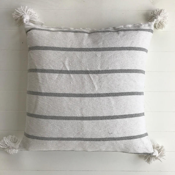 Moroccan Thin Striped Cotton Pompom Cushion-Craftology-Handmade Artisan