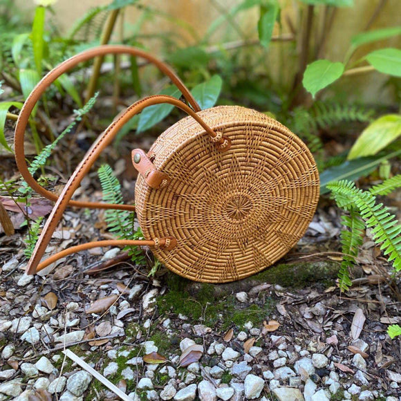 Two-handle Handmade Rattan Round Bag-Craftology-Handmade Artisan