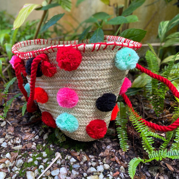 Multi-Pompom Moroccan Handmade Beach Bag