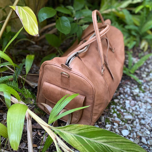 Large Tan/Brown Duffle Bag Handmade in Morocco
