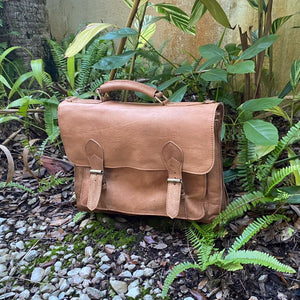 Vintage Leather Satchel Handmade in Morocco