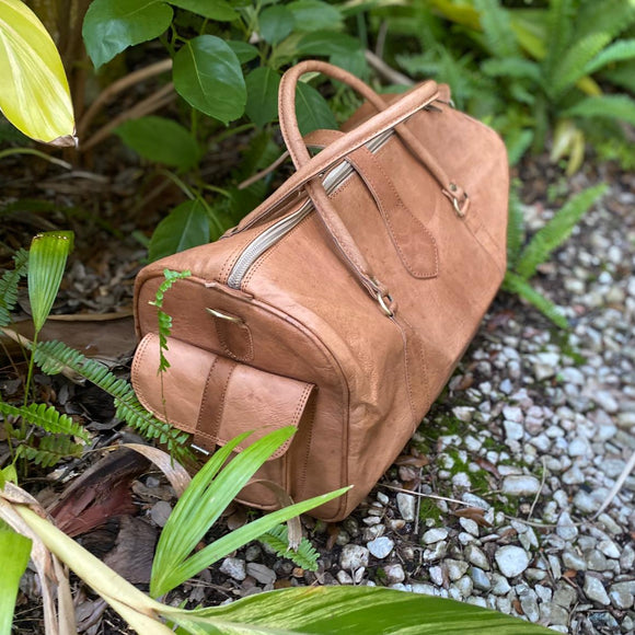 Medium Tan/Brown Duffle Bag Handmade in Morocco