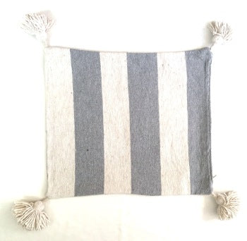 Moroccan Thick Striped Cotton Pompom Cushion-Craftology-Handmade Artisan