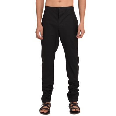 BLACK POPLINE CHURIDAR PANTS Pant Vayu