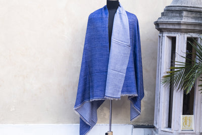 Blue And Baby Blue Color Reversible Pashmina Shawl Vayu - Design for living